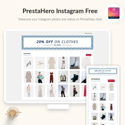 PrestaHero Instagram Free module - Display Instagram feed on PrestaShop homepage